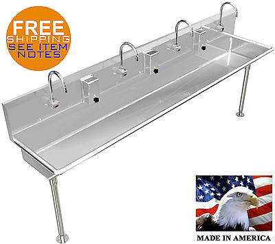 "4 Multi Station 84"" Washing Up Hand Sink Elect Faucet Hands Free Made In America"