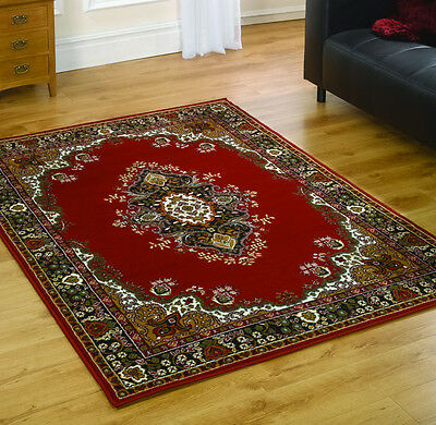 Lancaster Red Traditional Hessian Backed Rug in 8 Sizes
