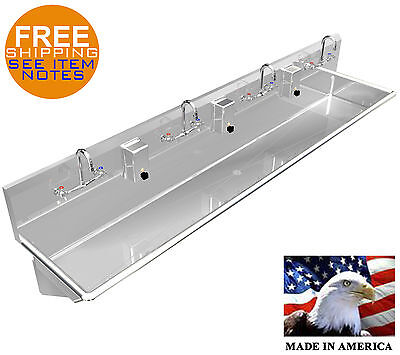 """Multi Station 4 Wash-Up Hand Sink 84"""" Manual Faucets Lavatory Heavy Duty 14Ga"""