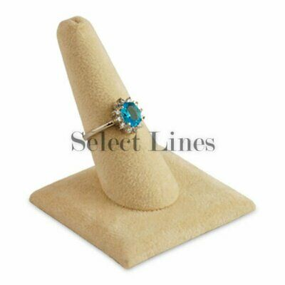 Beige Suede Finger Ring Stand Jewelry Display