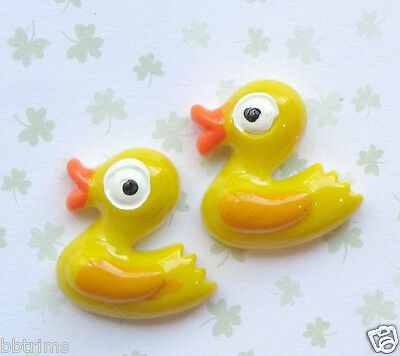 "20 x 6/8"" YELLOW Resin Baby DUCK Flatback Beads for Hair Bows/Card/Crafts SB144Y"