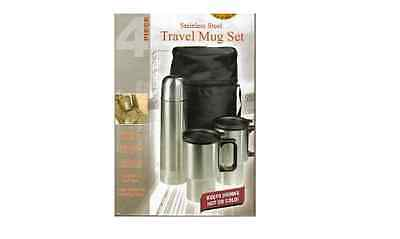 Travel Technology 4 Piece Stainless Steel Travel Mug Set Keep Drinks Hot or Cold