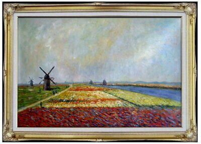 Framed Claude Monet Bulb Field Repro, Hand Painted Oil Painting 24x36in