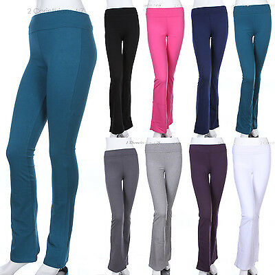 Womens Solid Plain Fold Over COTTON Flared Boot Cut Yoga Pants (GOOD QUALITY)