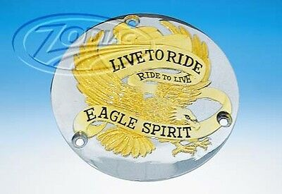 cache chrome Derby cover Eagle Spirit  gold harley  BT70-98 moto  zodiac 301800