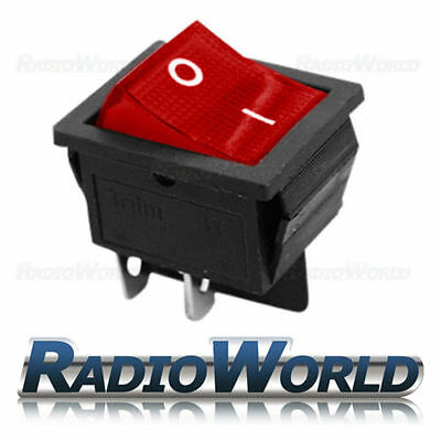 Rocker Switch 2 Circuits 16A 250V off-on I-0 Sign Red