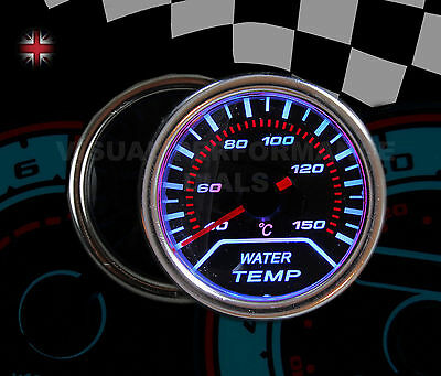 WHITE LED WATER TEMP GAUGE SMOKED DIALS FACE 52mm