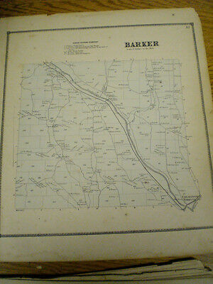 Original 1866 Map Of Town Of Barker Broom County New York With Landowners List