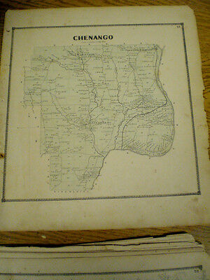 Original 1866 Map Town Of Chenango Broom County New York With Landowners Listed
