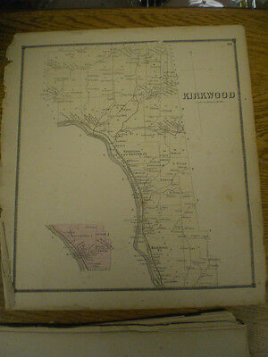Original 1866 Map Town Of Kirkwood Broom County New York With Landowners Listed