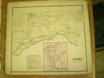 Original 1866 Map Town Of Union Broom County Ny With Landowners Listed
