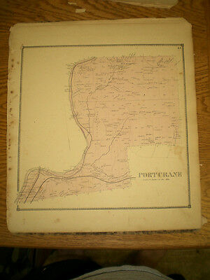 Original 1866 Map Town Of Port Crane Broom County Ny With Landowners Listed