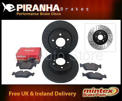 BMW 3 Coupe E46 318Ci 99-06 Rear Brake Discs Black Dimpled Grooved Mintex Pads