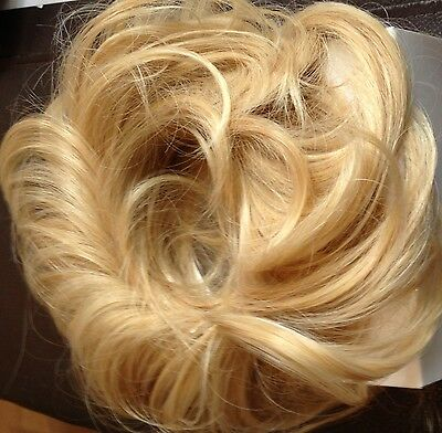 "KOKO GOLDEN BLONDE MIX SCRUNCHIE X X LARGE 12"" WAVY FOR updo wedding prom party"