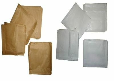 White / Brown Quality Paper Food Bags Strung * Choose * Takeaway / Catering