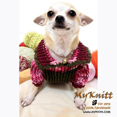 S M Handmade crochet Dog Costume Clothes Sweater D865 Poodle Beagle Pomeranian