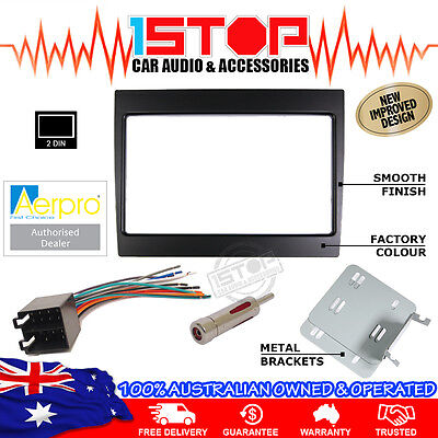 Vy-Vz Commodore 2Din Black Facia Fascia Kit + Wiring Harness + Antenna Adaptor