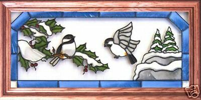 Stained Glass Hand Painted Art CHICKADEES & SNOW