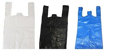 Small Medium Large XL XXL White Blue Black Vest Carrier Bags ** Choose **