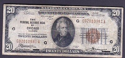 Usa National Currency Banknote, $20-1929 ,chicago Reserve Bank