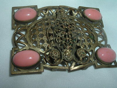 Vintage Beautiful Arts And Crafts Coral And Brass Belt Buckle