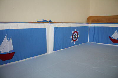 NEW blue baby cotbed/cot 2 BUMPERS (nursery, bedding) all way round nautical