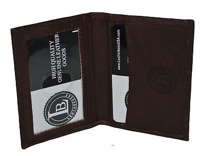 Credit Card Id Holder Small Slim New Leather Black Genuine Leather