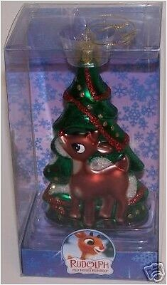 Rudolph with Tree Ornament Glass Rudolph Island of Misfit Toys