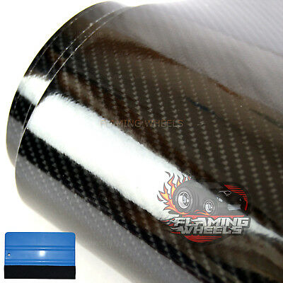 1.5m x 2m 4D HIGH GLOSS carbon fibre BLACK vinyl wrap car sticker BONNET ROOF