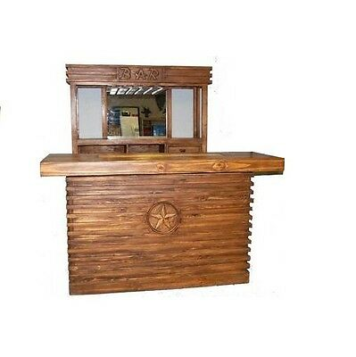 Rustic Pecan Two Piece Bar with Mirror Man Cave Real Solid Wood Cabin Lodge