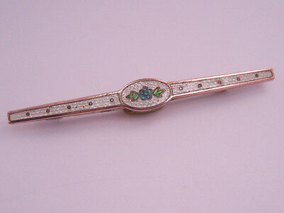 Antique Victorian Art Nouveau Gold Filled Guilloche Enamel Brooch Bar Pin Flower