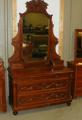 Carved Walnut & Maple Dresser Chest with Mirror  (DR57)