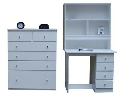 bedroom  New Desk and Hutch 4 Drawer + Tallboy/Chest of drawers Storage In White