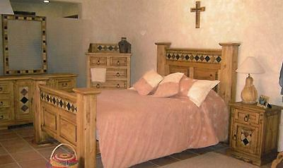Rustic Acapulco Bedroom Set Marble Inlay Western Lodge Cabin Real Solid Wood
