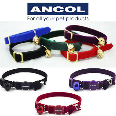 NEW Ancol Elasticated Velvet Cat Collar Bell Red Black Blue Green Purple