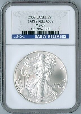 2007 AMERICAN EAGLE 1 oz SILVER Coin NGC MS69 MS 69 Blue LABEL EARLY RELEASES