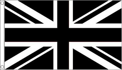 HUGE 8ft x 5ft Black and White Union Jack Flag Massive Giant Sports Football
