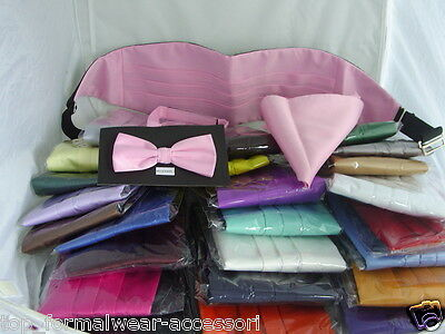 Any Mens Polyester Bow tie+Cummerbund & Hankie Set>i60 Colours>P&P 2UK>1st Class