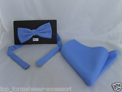 Pale BLUE Polyester Bow Tie and Hankie Set<>The More Sets U Buy>The More U Save