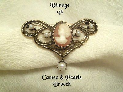 Vintage Antique 14K Gold CAMEO PEARLS Brooch Pin