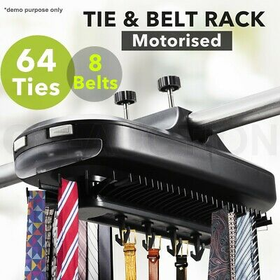 Electronic Revolving Tie Belt Closet Rack Wardrobe Storage Holder w/ LED Light
