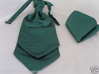 BOTTLE Green MENS Wedding Ruche Tie-Cravat & Hankie-*More U Buy>The More U Save*