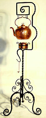"""19th century rare floor model teapot & stand, copper/wrought iron stand, 47"""" t"""