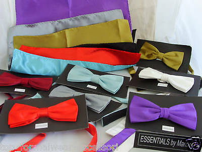 Any Mens Polyester Bow Tie + Cummerbund & Hanky Set>60 Colours-P&P 2UK>1st Class
