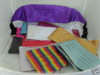 "Any Colour-Shiny Polyester Plain Cummerbund > 26""- 48"" Waist > P&P 2UK>1st Class"