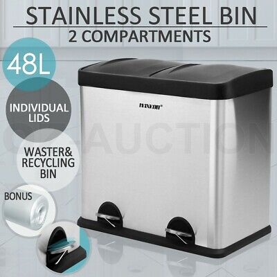 48L Stainless Steel Pedal Rubbish Bin 2 Compartment Kitchen Recycling Rubbish