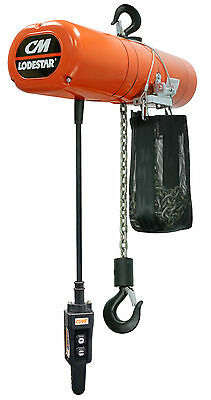 CM Lodestar 4222NH Electric Chain Hoist Model L 1 Ton 15 ft 115v