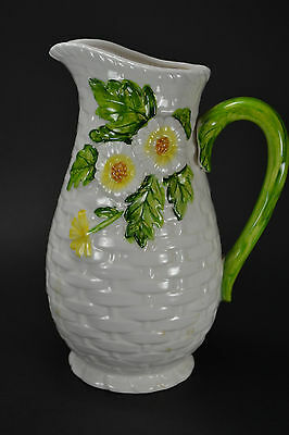 "Lefton Daisy Pitcher 8"" tall Vintage Ceramic"