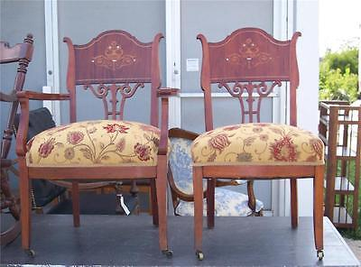 Pair of Mahogany Mother of Pearl Armchair / Parlor Chairs  (AC22)