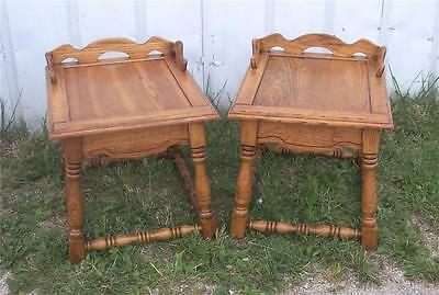 Pair of Solid Oak Mid Century Side Tables / End Tables  (T115)